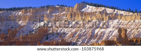 Red Rocks & Snow, Bryce Canyon National Park, Southern Utah - stock photo