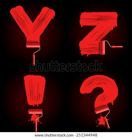 Red roller brush alphabet font  - stock photo