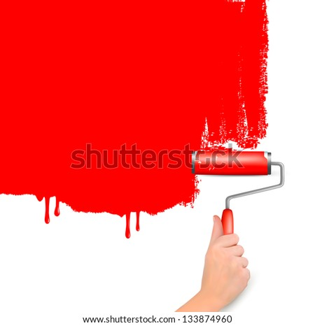 Red roller painting the white wall. Background Raster version of vector