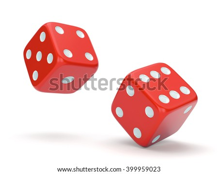 Red rolling dices isolated on white background. Gambling, board games, casino and luck concept. 3D illustration