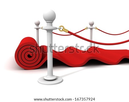 Red Rolling Velvet Carpet with Rubber Stanchions - stock photo