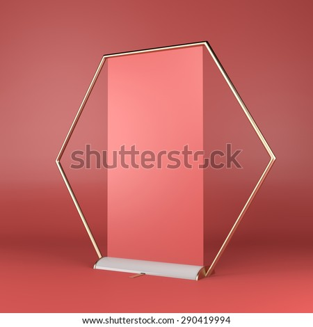 red rollup or banner - stock photo