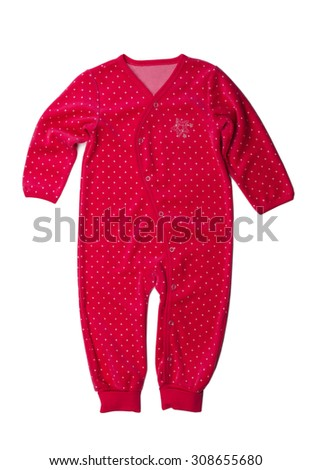 Red rompers with polka dots. Isolate not white. - stock photo