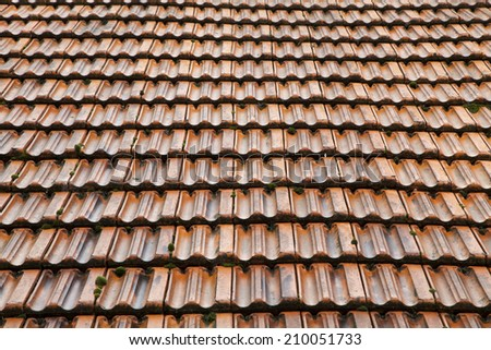 Red roof tiles from farm