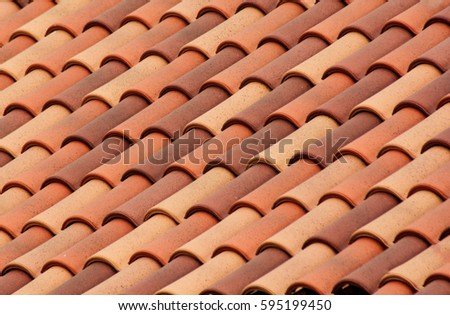 Amazing Red Roof Tiles Or Shingles On House As Background Image. Old And Used  Overlapping Red
