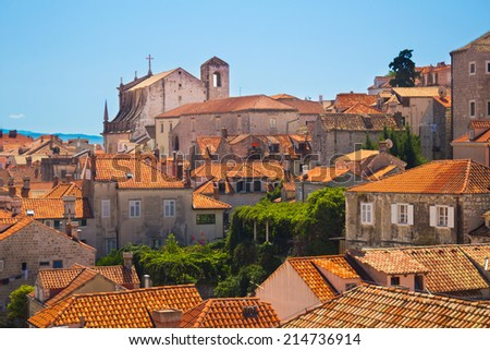 Red roofs of Dubrovnik from the old town walls, Croatia - stock photo