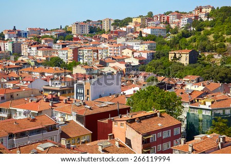 Red roofs of residential houses located on the European shore of the Bosphorus. Besiktas municipality. Istanbul, Turkey.