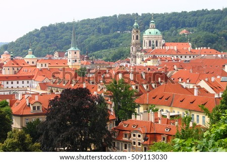 Red roofs scenic view of Prague, Czech Republic