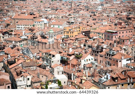 Red rooftops in Venice, view from San Marco tower
