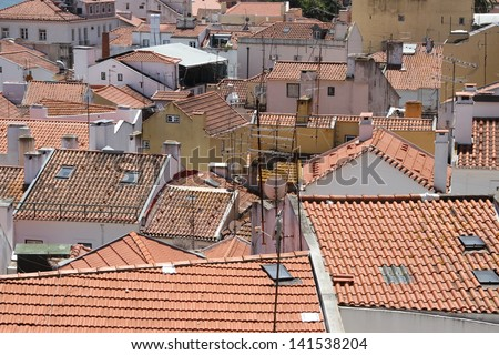 Red rooftops of Lisbon, Portugal - stock photo