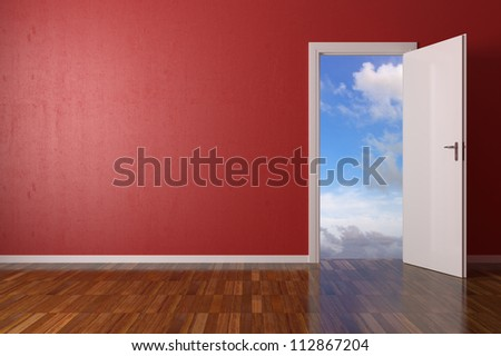 Red Room with open door on sky background - stock photo