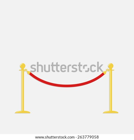 Red rope barrier golden stanchions turnstile Isolated template Flat design  - stock photo