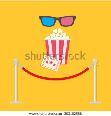 Red rope barrier stanchions turnstile 3D glasses big popcorn and ticket. Cinema icon in flat design style. - stock photo