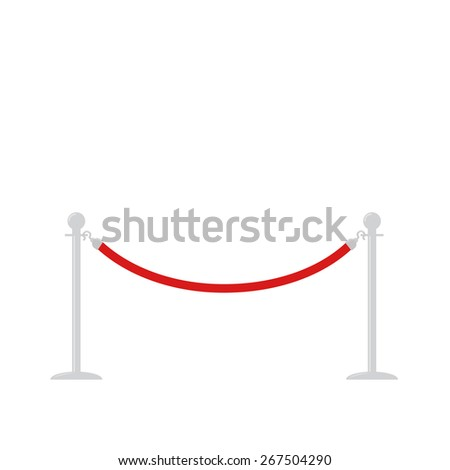 Red rope barrier stanchions turnstile facecontrol on white background Flat design