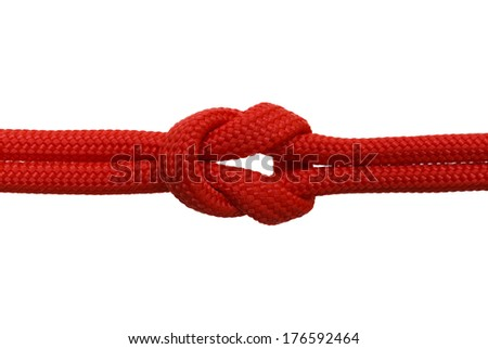 Red Rope in A Knot Isolated on White Background. - stock photo