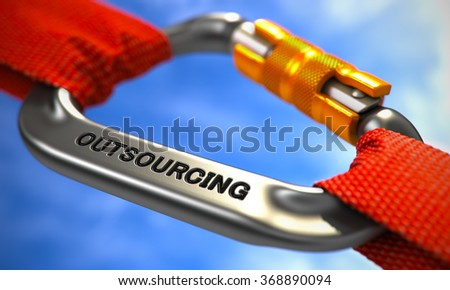 Red Ropes Connected by Chrome Carabiner Hook with Text Outsourcing. 3d. Selective Focus. - stock photo