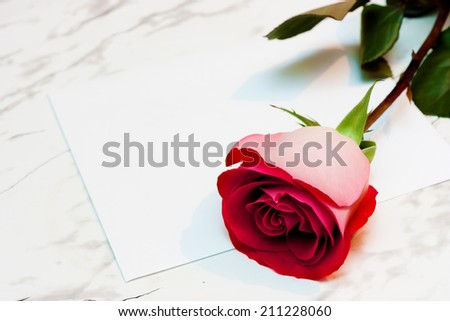 Red rose and a letter on the marble table - stock photo