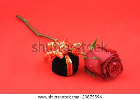 Red rose and black gift box on the red background.