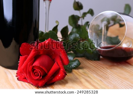Red rose and glass of wine # 2 - stock photo