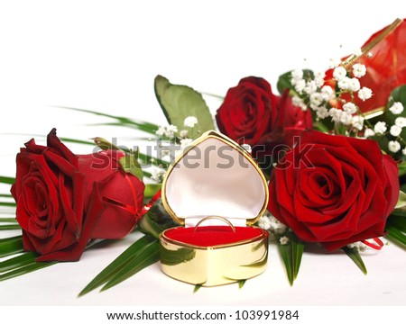 red rose and ring - stock photo