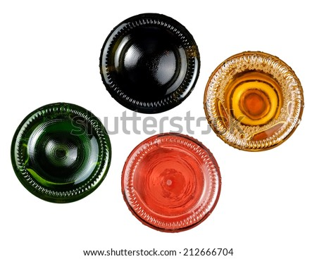 Red, rose and white wine bottles, bottom view - stock photo