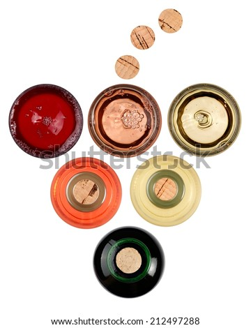 Red, rose and white wine glasses and bottles, top view - stock photo