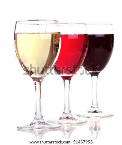 Red, rose and white wine in a wine glasses isolated on white background - stock photo
