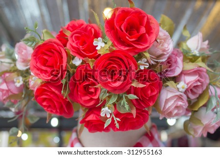 red rose artificial flower bouquet for background