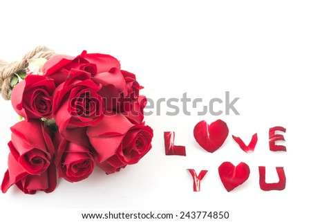 red rose bouqiet isolated on white background