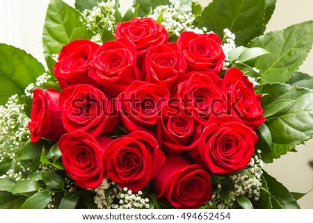 Red rose bouquet with copy space
