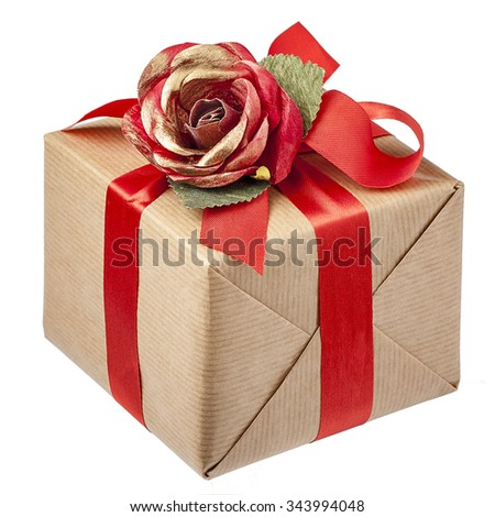 Red Rose Bow Gift Box Isolated  - stock photo