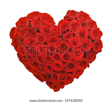 Red rose flower bouquet heart shape isolated on white background - stock photo