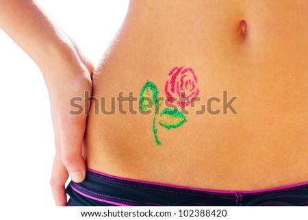 Red rose glitter-tattoo - stock photo