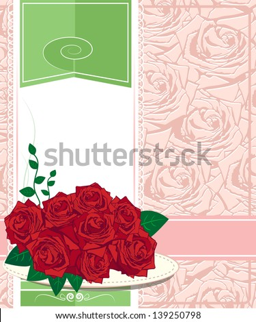 Red rose. Happy birthday card design - stock photo
