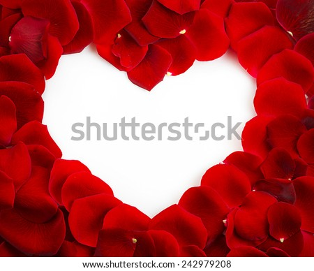 Red Rose Heart Shape with copy space - stock photo