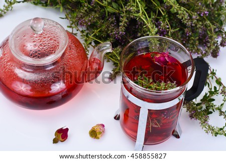 Red Rose Hibiscus Tea with Thyme Studio Photo