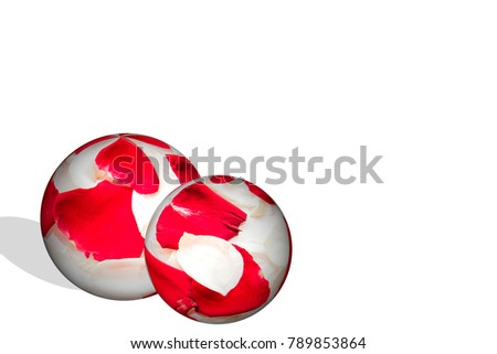red rose in sphere effect, symbol of love, copy space