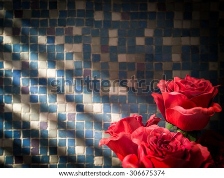 red rose on tiled wall decorative concept background - stock photo