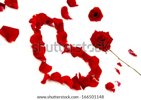 Red rose petals in a heart shape and roses isolated on a white background