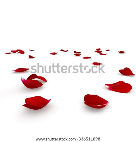 Red rose petals scattered on the floor. 3D render - stock photo