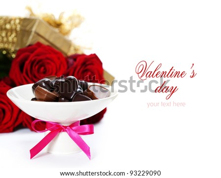 red roses  and chocolate hearts for Valentine's Day (with sample text)