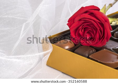 Red Roses and Chocolates for Valentines Day - stock photo