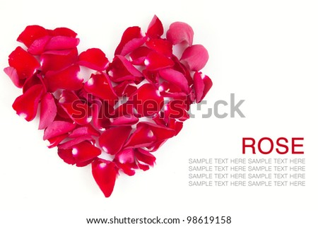 Red roses Heart shape on white background. - stock photo