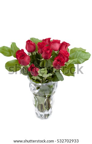 Red Roses Crystal Vase Love Theme Stock Photo Royalty Free