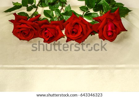 Red roses lie  from top on of yellowish transparent with a satin strip of cloth