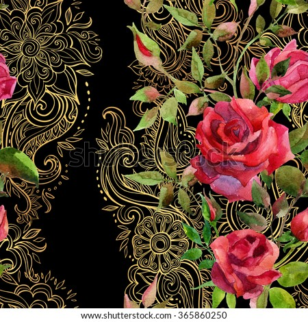 Red roses on golden ornament. Watercolor flowers on indian paisley seamless pattern. Hand painted illustration  - stock photo