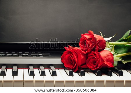 red roses on piano keys with copy-space