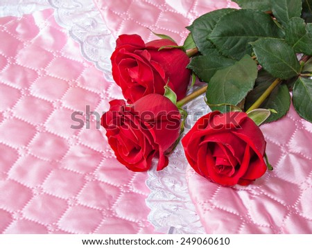 Red roses on pink satin. New born concept