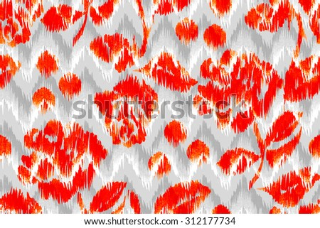 Red roses, orange roses pattern on a grey backdrop. Colorful floral template on a geometric background. Watercolor illustration markers handmade - stock photo