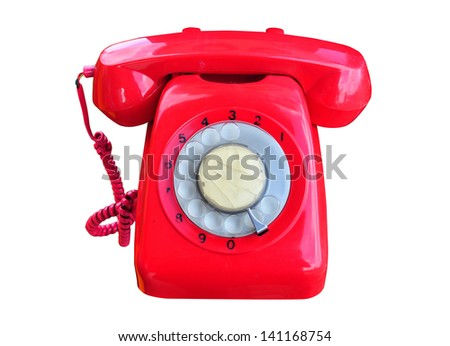 red rotary telephone . - stock photo